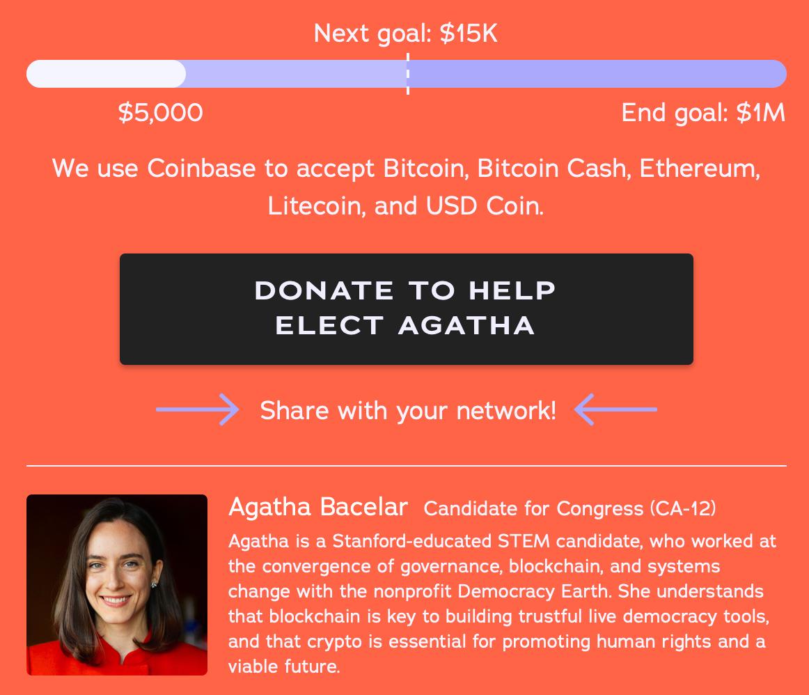 "Disparos disparados como Nancy Pelosi Challenger Bacelar Funds Campaign With Crypto"" width = ""1162"" height = ""998"" srcset = ""https://news.bitcoin.com/wp-content/uploads/2019 /09/screen-shot-2019-10-01-at-13-05-05.png 1162w, https://news.bitcoin.com/wp-content/uploads/2019/09/screen-shot-2019- 10-01-at-13-05-05-300x258.png 300w, https://news.bitcoin.com/wp-content/uploads/2019/09/screen-shot-2019-10-01-at-13 -05-05-768x660.png 768w, https://news.bitcoin.com/wp-content/uploads/2019/09/screen-shot-2019-10-01-at-13-05-05-1024x879. png 1024w, https://news.bitcoin.com/wp-content/uploads/2019/09/screen-shot-2019-10-01-at-13-05-05-696x598.png 696w, https: // news.bitcoin.com/wp-content/uploads/2019/09/screen-shot-2019-10-01-at-13-05-05-1068x917.png 106 8w, https://news.bitcoin.com/wp-content/uploads/2019/09/screen-shot-2019-10-01-at-13-05-05-489x420.png 489w ""tamaños ="" (máx. -ancho: 1162px) 100vw, 1162px"