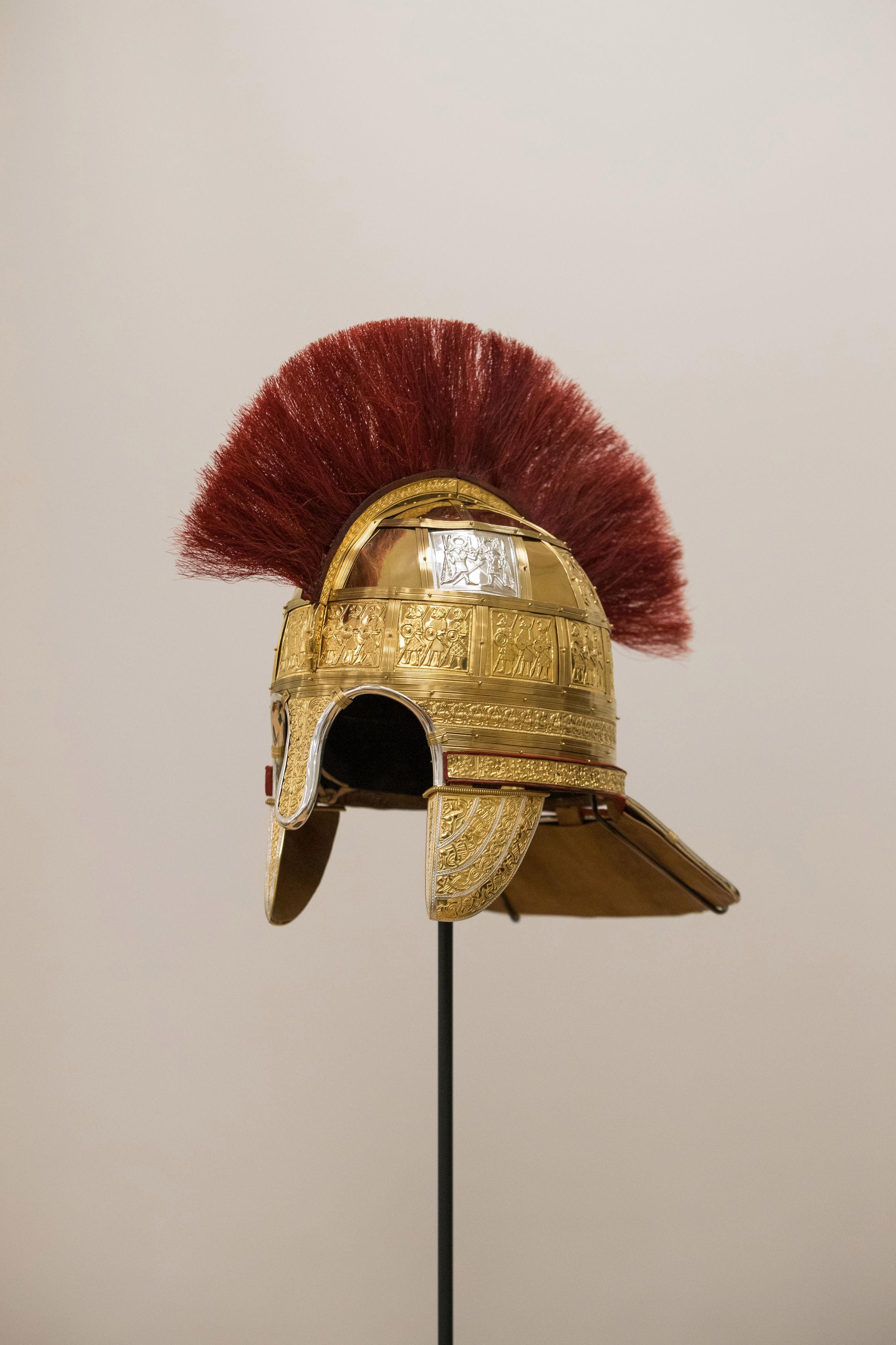 Un casco que se encontró en el tesoro de Staffordshire