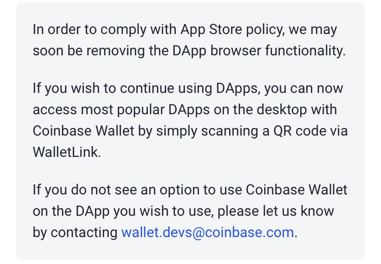 "Monedero de Coinbase Quitar el navegador móvil Dapp para cumplir con Apple ""ancho ="" 750 ""altura ="" 520 ""srcset ="" https://blackswanfinances.com/wp-content/uploads/2019/12/announcement-coinbase.jpg 750w, https://news.bitcoin.com/wp-content/uploads/2019/12 /announcement-coinbase-300x208.jpg 300w, https://news.bitcoin.com/wp-content/uploads/2019/12/announcement-coinbase-100x70.jpg 100w, https://news.bitcoin.com/wp -content / uploads / 2019/12 / Notice-coinbase-200x140.jpg 200w, https://news.bitcoin.com/wp-content/uploads/2019/12/announcement-coinbase-218x150.jpg 218w, https: / /news.bitcoin.com/wp-content/uploads/2019/12/announcement-coinbase- 696x483.jpg 696w, https://news.bitcoin.com/wp-content/uploads/2019/12/announcement-coinbase-606x420.jpg 606w ""tamaños ="" (ancho máximo: 750px) 100vw, 750px"