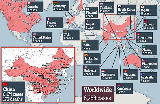 Se han confirmado más de 8,200 casos en 18 países y territorios de todo el mundo