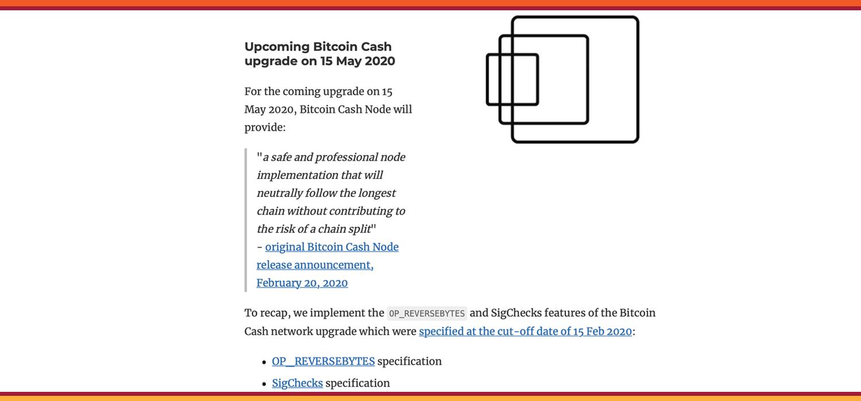 """El nodo de efectivo de Bitcoin revela planes de actualización para mayo y la investigación del algoritmo de dificultad """"width ="""" 1500 """"height ="""" 700 """"srcset ="""" https: // news.bitcoin.com/wp-content/uploads/2020/03/upgradu.jpg 1500w, https://news.bitcoin.com/wp-content/uploads/2020/03/upgradu-300x140.jpg 300w, https: //news.bitcoin.com/wp-content/uploads/2020/03/upgradu-1024x478.jpg 1024w, https://news.bitcoin.com/wp-content/uploads/2020/03/upgradu-768x358.jpg 768w, https://news.bitcoin.com/wp-content/uploads/2020/03/upgradu-696x325.jpg 696w, https://news.bitcoin.com/wp-content/uploads/2020/03/upgradu -1392x650.jpg 1392w, https://news.bitcoin.com/wp-content/uploads/2020/03/upgradu-1068x498.jpg 1068w, https://news.bitcoin.com/wp-content/uploads/2020 /03/upgradu-900x420.jpg 900w """"tamaños ="""" (ancho máximo: 1500px) 100vw, 1500px"""