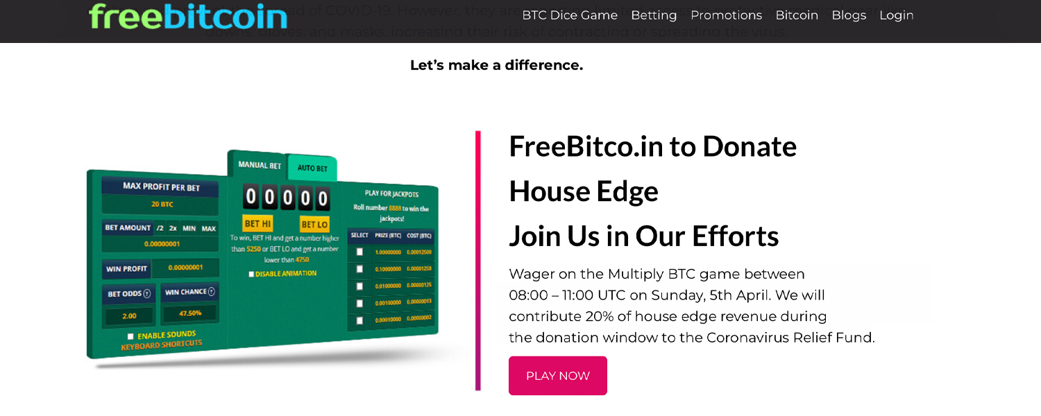 "Freebitco.in El sitio de juegos lanza el Fondo de ayuda Covid-19: dona el 20% de ventaja de la casa a los esfuerzos de atención médica ""width ="" 1500 ""height ="" 600 ""srcset ="" https://news.bitcoin.com/wp-content/uploads/2020/04 /freecosind.jpg 1500w, https://news.bitcoin.com/wp-content/uploads/2020/04/freecosind-300x120.jpg 300w, https://news.bitcoin.com/wp-content/uploads/2020 /04/freecosind-1024x410.jpg 1024w, https://news.bitcoin.com/wp-content/uploads/2020/04/freecosind-768x307.jpg 768w, https://news.bitcoin.com/wp-content /uploads/2020/04/freecosind-696x278.jpg 696w, https://news.bitcoin.com/wp-content/uploads/2020/04/freecosind-1392x557.jpg 1392w, https://news.bitcoin.com /wp-content/uploads/2020/04/freecosind-1068x427.jpg 1068w, https://news.bitcoin.com/wp-content/uploads/2020/04/freecosind-1050x420.jpg 1050w ""tamaños ="" (ancho máximo: 1500px) 100vw, 1500px"