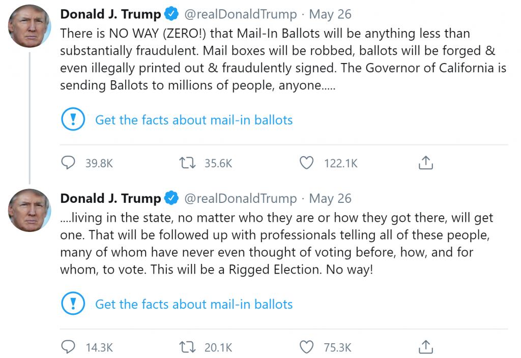 Trump amenaza con cerrar plataformas de redes sociales después de que Twitter manipulara con sus Tweets