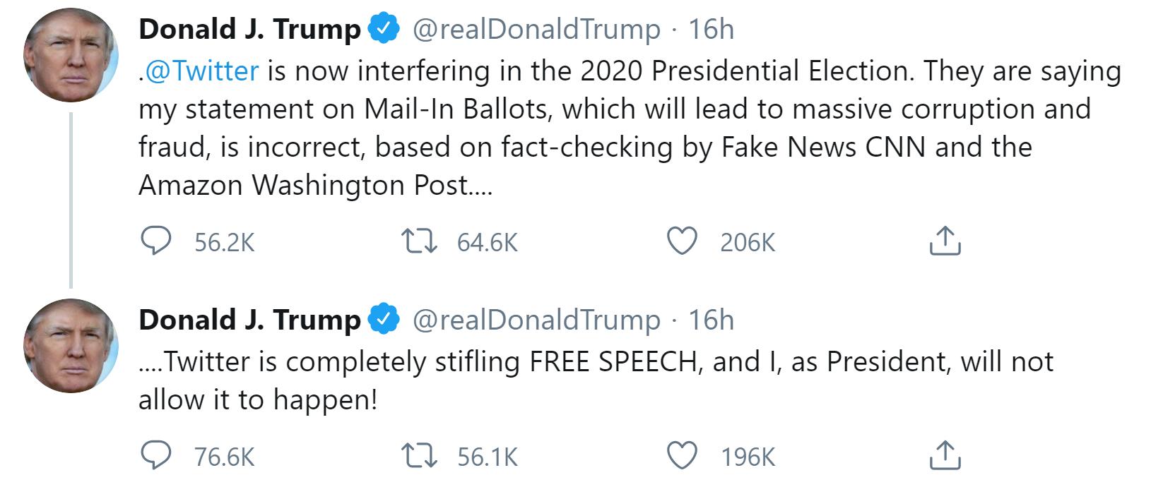 Trump amenaza con cerrar plataformas de redes sociales después de manipulaciones de Twitter con sus tweets