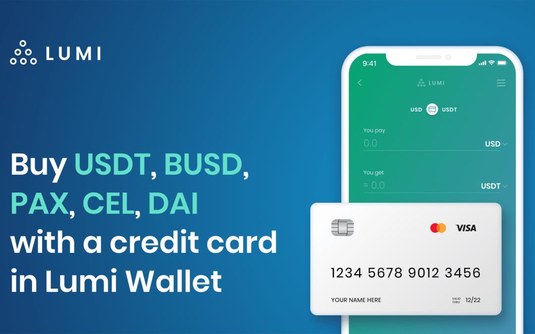 Compre Stablecoins con su tarjeta de crédito en Lumi Wallet