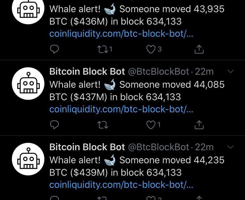 Ballenas movieron anoche más de USD $ 1.300 millones en Bitcoin, parte de los fondos afectados a robo en 2016